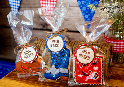 "Western Party Circles + ""Much Obliged"" Gift Tags - The Appreciation Shop"