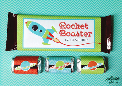 """Rocket Booster"" and Planet Candy Bar Wrappers - The Appreciation Shop"
