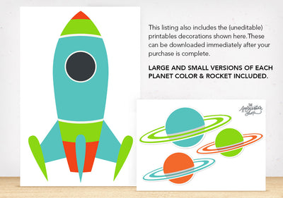 Rocket and Planet Printable Decorations - The Appreciation Shop
