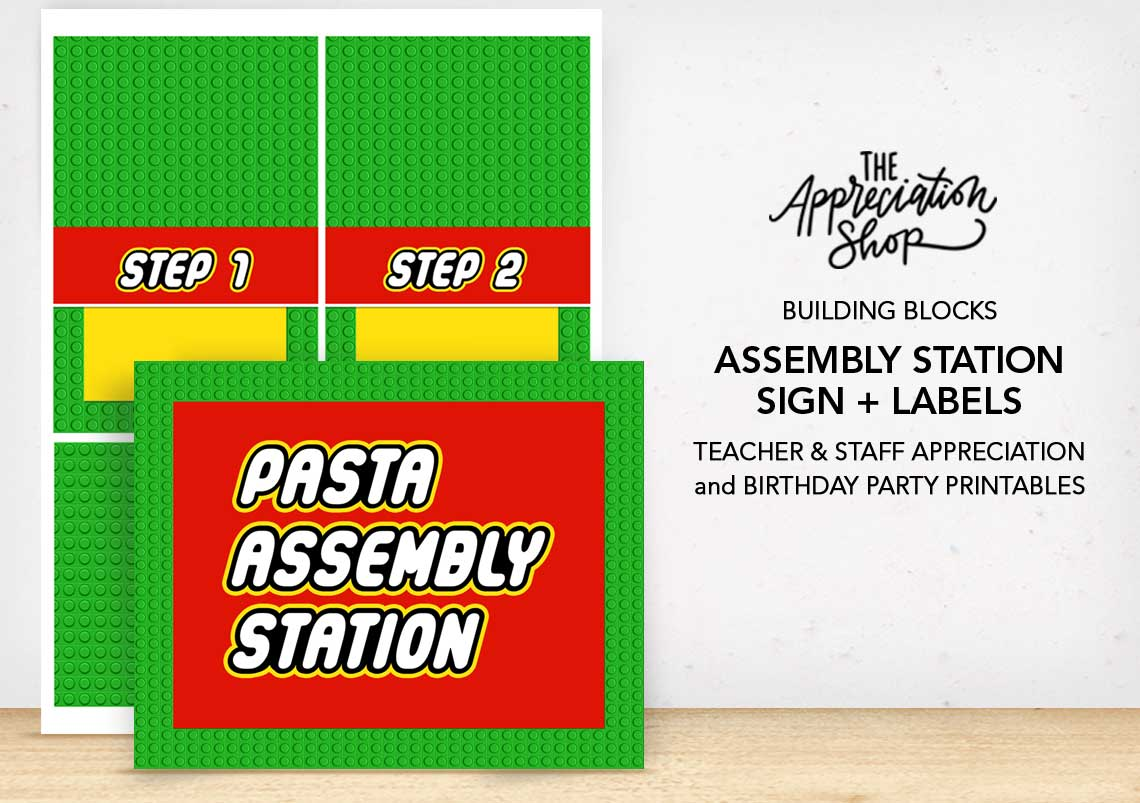 Pasta Assembly Station Sign + Labels - The Appreciation Shop