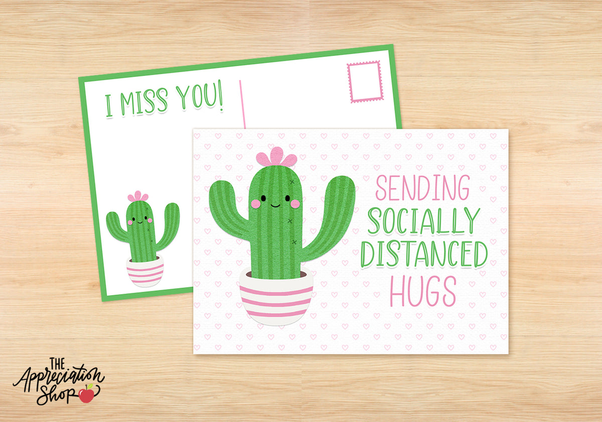 """Socially Distanced Hugs"" Postcard - The Appreciation Shop"