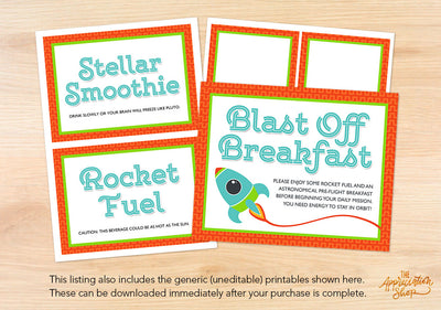 Blast Off Breakfast Printables - The Appreciation Shop