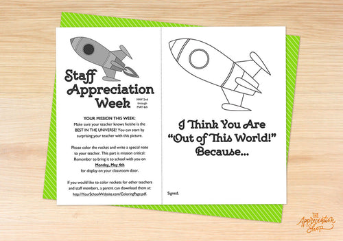 """I Think You Are Out of This World!"" Coloring Sheet - The Appreciation Shop"