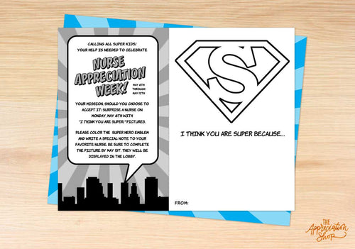 """I Think You Are Super!"" Nurse Appreciation Coloring Sheet - The Appreciation Shop"