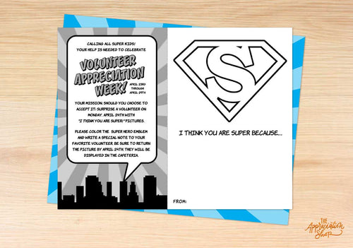 """I Think You Are Super!"" Volunteer Appreciation Coloring Sheet - The Appreciation Shop"