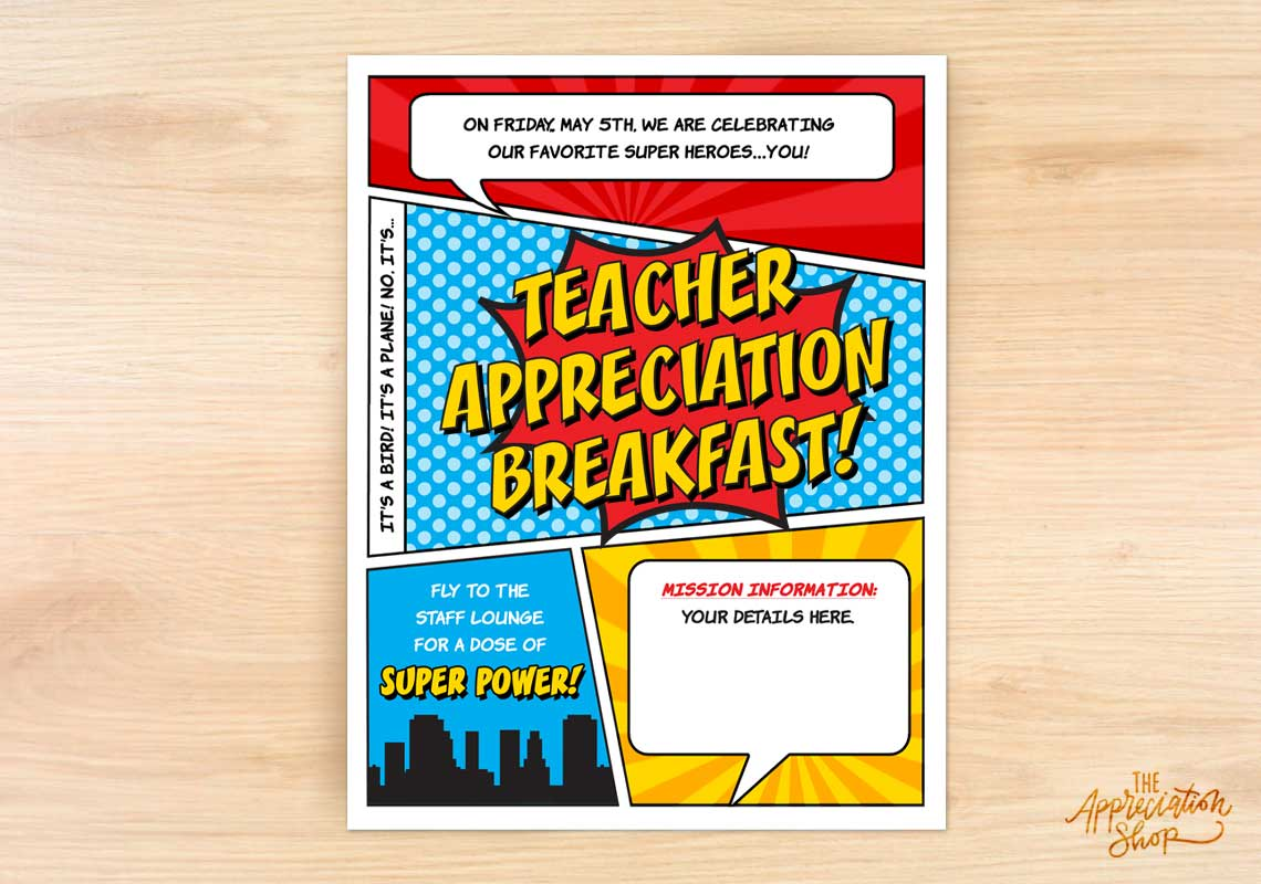 Teacher Appreciation Breakfast Flyer - The Appreciation Shop