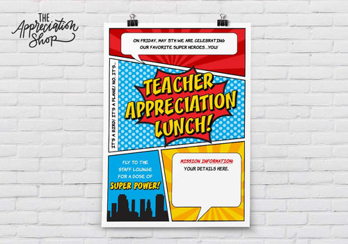 Teacher Appreciation Lunch Poster - The Appreciation Shop
