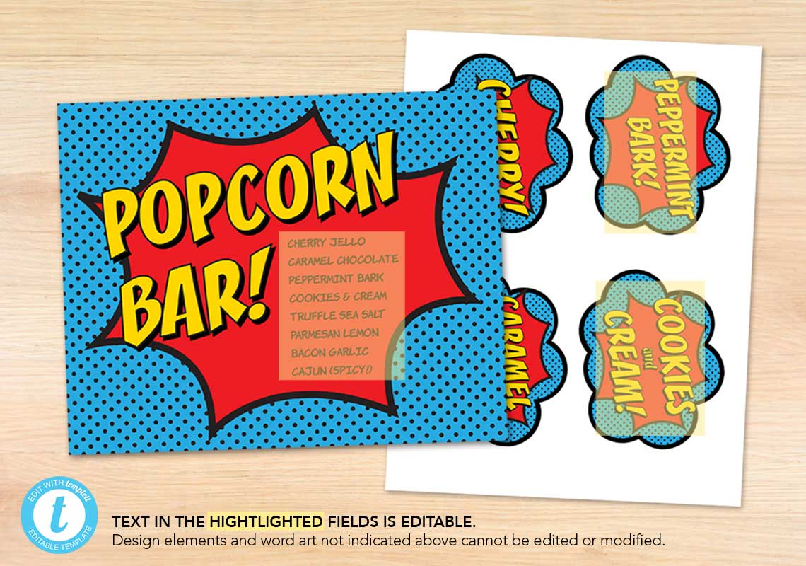 Popcorn Bar Superhero Printables - The Appreciation Shop