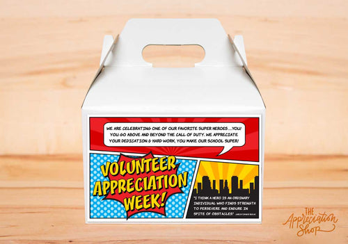 Volunteer Appreciation Week Gable Box Label - The Appreciation Shop
