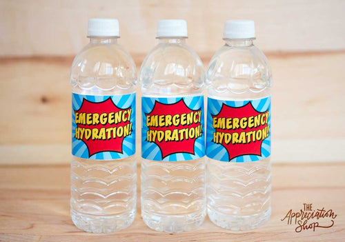 """Emergency Hydration"" Water Bottle Labels - The Appreciation Shop"