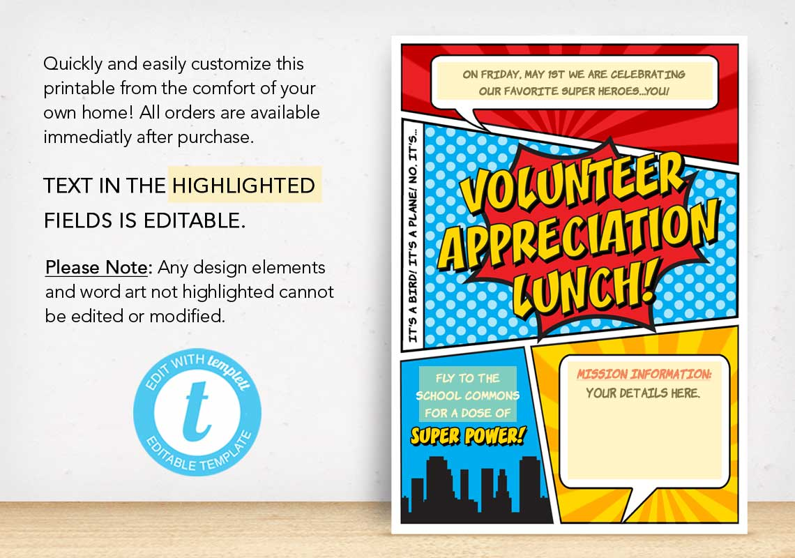 Volunteer Appreciation Lunch Poster - The Appreciation Shop