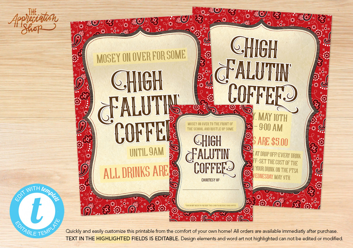 High Falutin' Coffee Printables - The Appreciation Shop