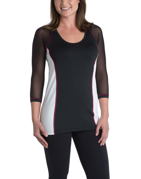 Scoop-Neck Top - Black/White with Pink Accent Stitching