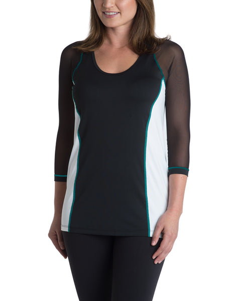 Scoop-Neck Top - Black/White with Turquoise Accent Stitching
