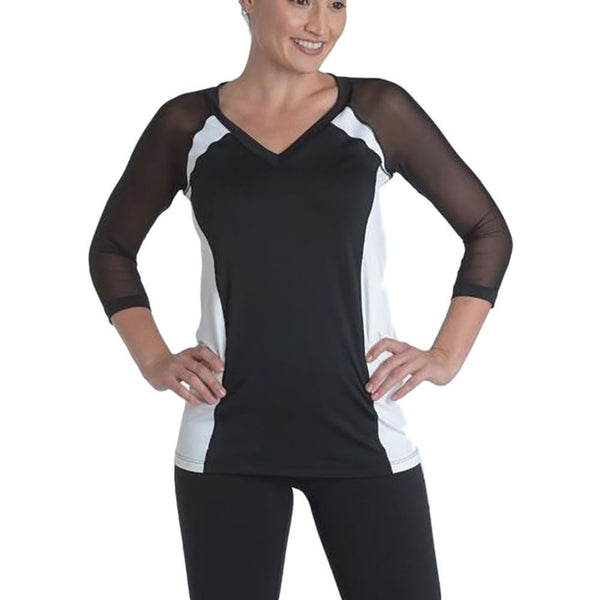 V-Neck Top - Black/White