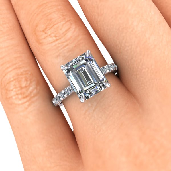 Emerald Cut Moissanite Engagement ring 10x8mm 3 Carats