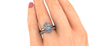 Moissanite Engagement Ring 2.7 Carat Oval with Hidden Halo Lab Grown Diamonds