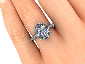 Oval Moissanaite Engagement Ring, 4.20 Carats, Recycled Platinum, Ethical Diamonds