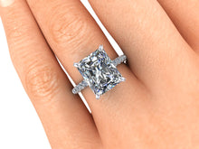 Radiant Cut NEO Moissanite Engagement Ring, 3.90 Carats, Recycled White Gold