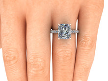 Radiant Cut Harro Moissanite Engagement Ring, 4.5 Carats, 18k Rose Gold
