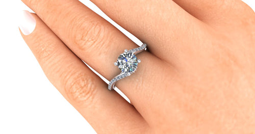 Contemporary Lab Grown Diamond Engagement Ring, Bypass Style in Platinum