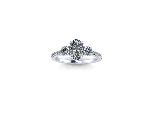 Elongated Oval Moissanite Engagement Ring Moissanite and Diamond Trilogy Ring