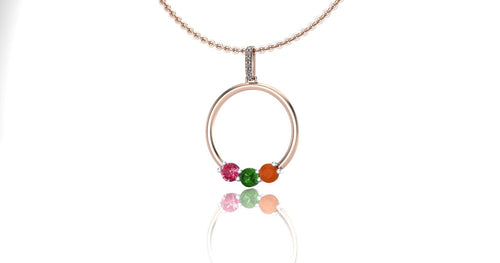 Circle Pendant with Birthstones, Gift for Mom, Recycled Gold
