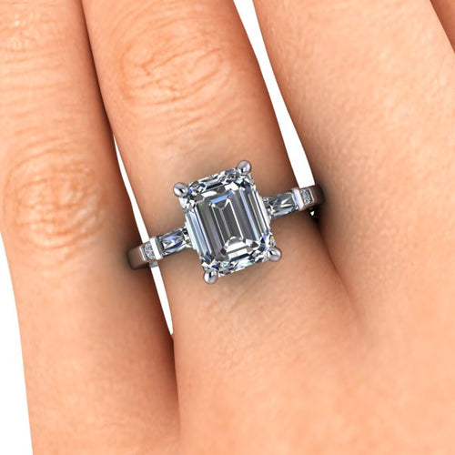 1.5 Carat Emerald Cut Moissanite Trilogy Engagement Ring