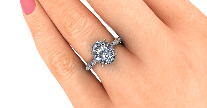 Oval Moissanite Engagement Ring with Lab Grown Diamonds