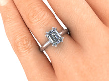 Solitaire Emerald Cut Moissanite Engagement Ring, Recycled White Gold