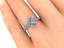 Oval Crushed Ice Moissanite Engagement Ring, Recycled Palladium, Ethical Diamonds
