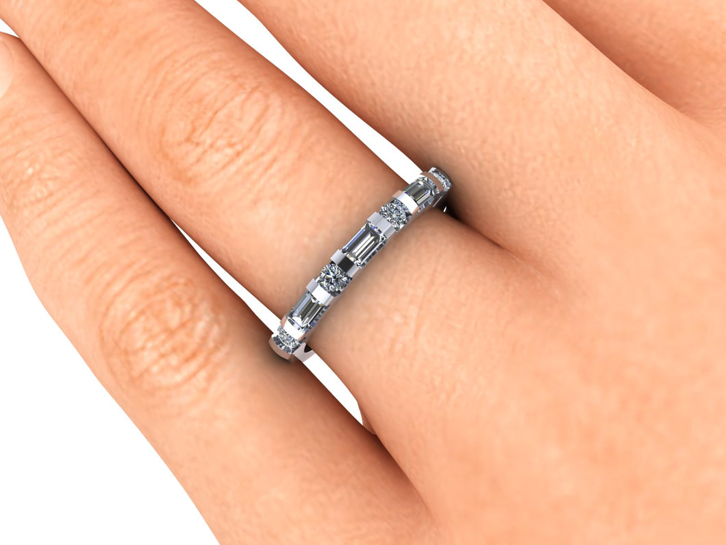 Diamond Anniversary Band, 14k Recycled White Gold, Ethical Diamond Ring