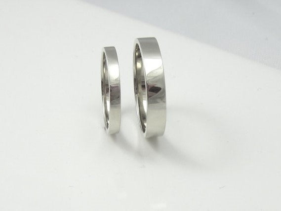 14k White Gold Wedding Bands, His and Hers, Recycled Gold, Eco Friendly