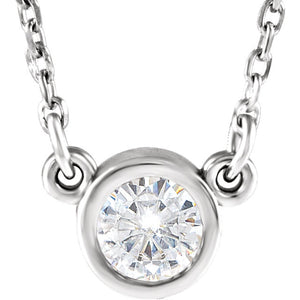 Moissanite Necklace Bezel Set Moissanite in White Gold