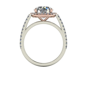 Two Tone Engagement Ring  Rose Gold and White Gold