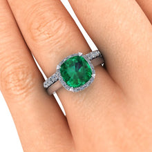 Cushion Cut Chatham Emerald Engagement Ring 14k White Gold Accent Diamonds