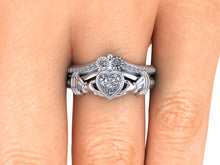 White Gold Claddagh Wedding Set Heart Moissanite Engagement Ring