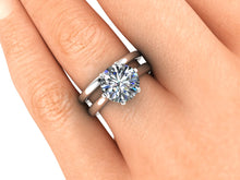 Moissanite Engagement Ring, 2.70 Carats, Princess Setting, Recycled White Gold