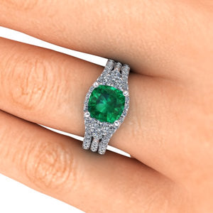Emerald and Diamonds Engagement Ring Cushion Cut Chatham Emerald