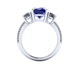 Sapphire Engagement Ring,  3 Carat Cushion Cut Chatham Sapphire, Moissanite Accents