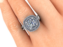 Double Halo Cushion Cut Moissanite Engagement Ring  2.48 Carats