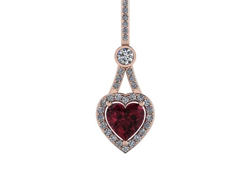 Heart Shape Pendant Chatham Ruby and Forever One Moissanite