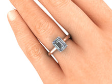 Custom Emerald Cut Diamond Engagement Ring Two Tone Setting Rose Gold and Platinum Hidden Halo