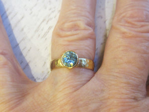 Blue Zircon and Gold Ring December Birthstone 14k Recycled Yellow Gold