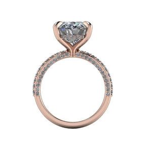 Moissanite Engagement Ring, 5 Carat Oval Moissanite, Recycled Rose Gold