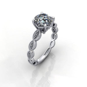 Vintage Inspired Moissanite Engagement Ring, 2.70 Carats, Recycled Platinum