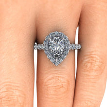 Pear Shape Engagement Ring 2.10 Carat NEO Moissaniate with Lab Grown Diamonds