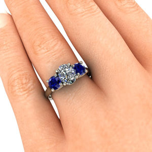 Chatham Blue Sapphire and Moissanite Engagement Ring