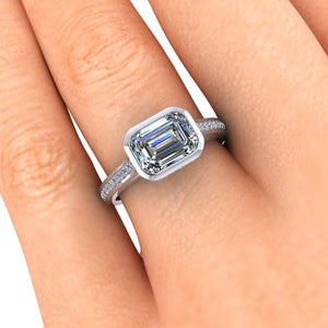 Moissanite Engagement Ring, 1.75 Carats Bezel Set Emerald Cut, Recycled White Gold