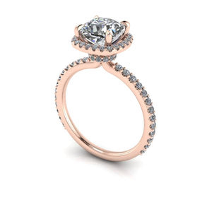 Cushion Cut Moissanite Engagement Ring 2.4 Carat Moissanite 18k Rose Gold